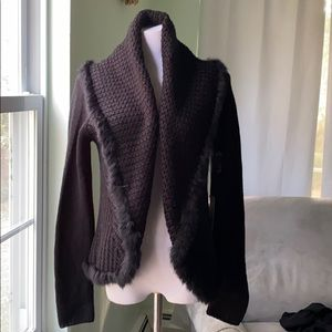 Real rabbit fur trimmed cowl neck sweater